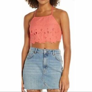 Free people high neck bralette floral crop top